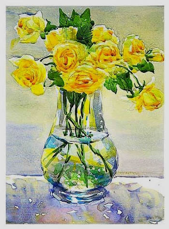Watercolor Painting Yellow Rose In Glass Vase